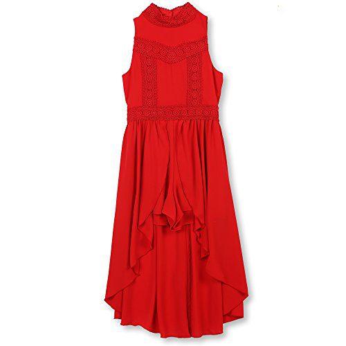Speechless Big Girls' Sleeveless Mock Neck Walk-Through Dress, Red, 10