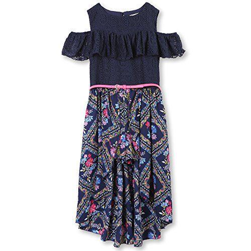 Speechless Big Girls' Cold-Shoulder Walk-Through Romper Dress, Navy Fuchsia, 16