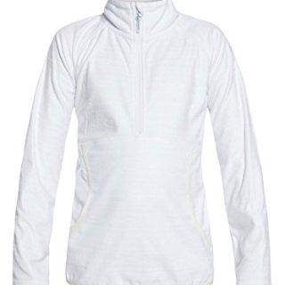 Roxy Little Girls' Cascade Half Zip-up Fleece Sweatshirt, Bright White_Indie Stripes Emb, 14/XL