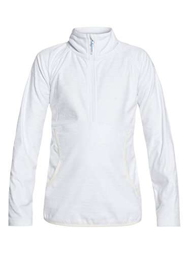 Roxy Little Girls' Cascade Half Zip-up Fleece Sweatshirt, Bright White_Indie Stripes Emb, 14/XL