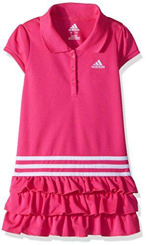 adidas Little Girls' Athletic Dress, Neon Pink, 5
