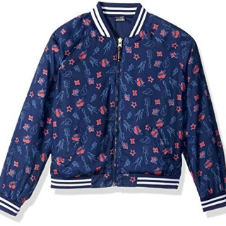 Tommy Hilfiger Big Girls' Printed Bomber, Flag Blue, Medium