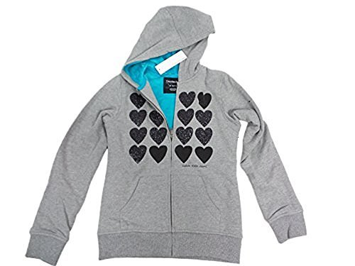 Calvin Klein Jeans Girls' Sherpa Lined Hoodie,Size 10, Grey with Black Hearts