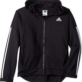 adidas Kids Girl's Zip Thru Hoodie (Big Kids) Black Large