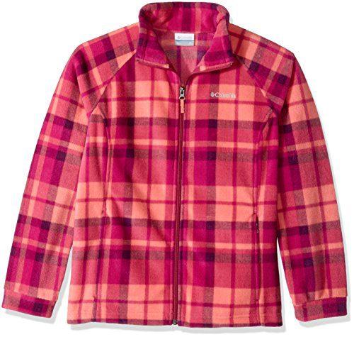 Columbia Little Girls' Benton Springs Ii Printed Fleece Jacket, Hot Coral Plaid, XX-Small
