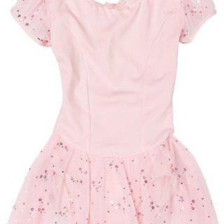 Capezio Little Girls' Sequined Puff Sleeve Dress, Pink, Intermediate (6-8)