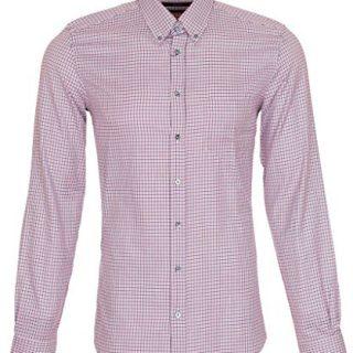 Gucci Men's Classic Micro Check Cotton Button Down Dress Shirt, 15, Pink