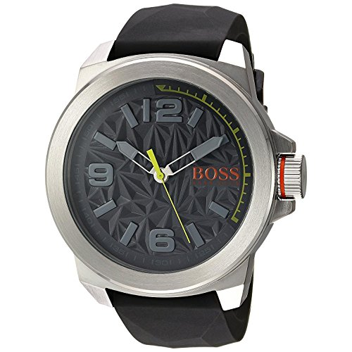 BOSS Orange Men's Quartz Stainless Steel and Silicone Casual Watch, Color Grey