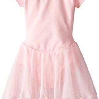 Capezio Little Girls' Short Sleeve Nylon Dress,Pink,S (4-6)