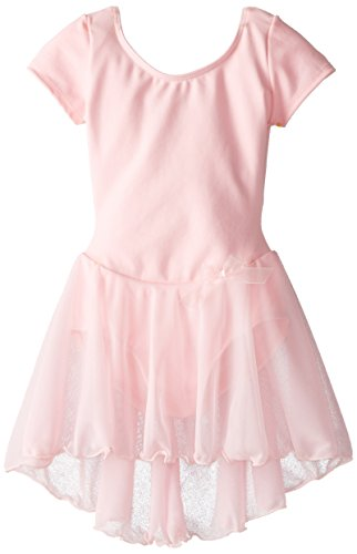 Capezio Little Girls' Short Sleeve Nylon Dress,Pink,S (4-6)