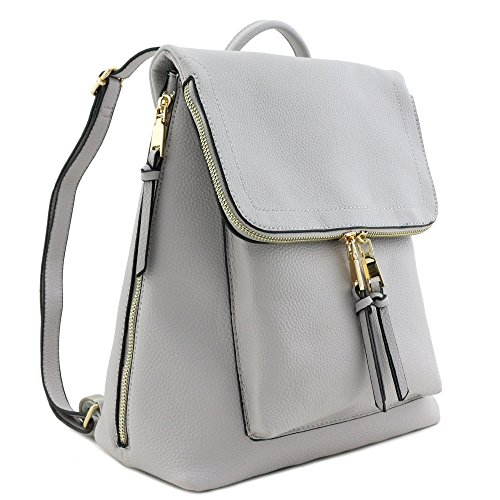 Faux Leather Zip Flapover Backpack (Light Grey)