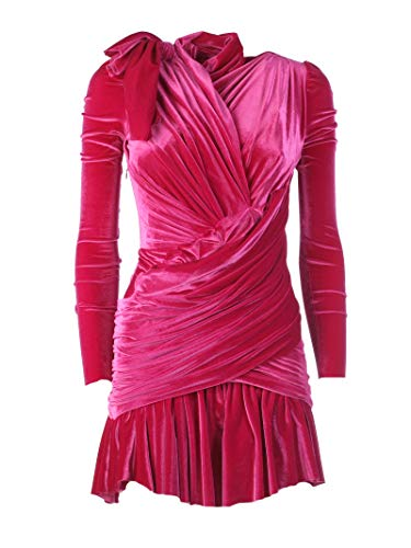 Balenciaga Women's Fuchsia Velvet Dress