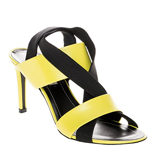 Balenciaga Women's Mid-Heel Elastic Criss-Cross Sandals Leather