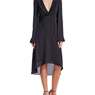 Balenciaga Womens Solid Ruffle Dress, 38