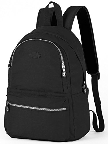 Lily & Drew Nylon Casual Travel Daypack Backpack with Trolley Strap (V2 Black Medium)