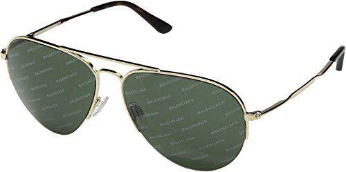 Balenciaga Unisex Pale Gold/Green Logomania Lens One Size