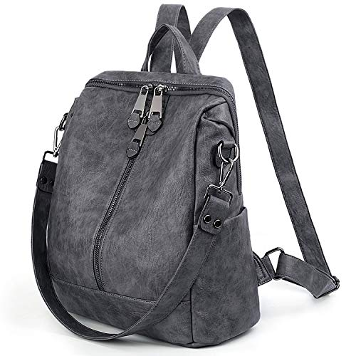 UTO Women Backpack Purse, PU Washed Leather Convertible Ladies Rucksack