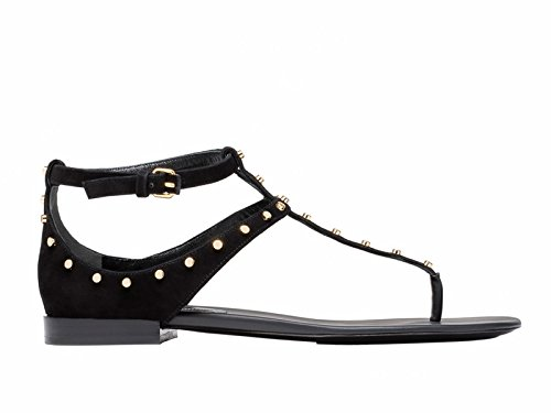 Balenciaga Women's Black Chamois Leather Flat Sandals Shoes - Size: 9.5 US