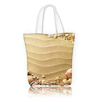 Canvas Shoulder Hand Bag sea shells with sand as women Large Work