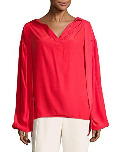 Balenciaga Womens Solid Ruffled Blouse, 38