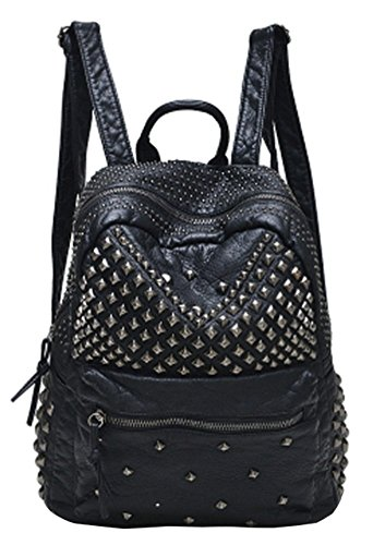 Sannea Womens Studded Black Leather, Backpack Casual Pack
