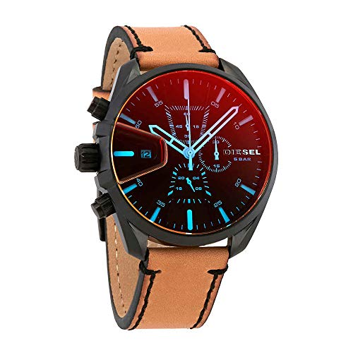 Diesel Men's 'Ms9 Chrono' Quartz Stainless Steel and Leather Casual Watch, Color:Brown (Model: DZ4471)