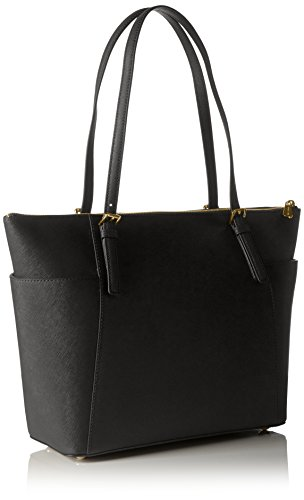 Michael Kors Women Jet Set Large Top-zip Saffiano Leather Tote Shoulder Bag, Black (Black), 12.7x29.8x31.8 cm (W x H x L)