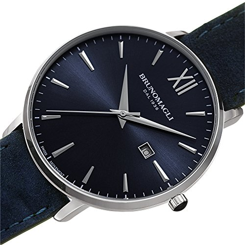 Bruno Magli Men's Roma 1162 Swiss Quartz Indigo Dial Italian Suede Leather Strap Watch