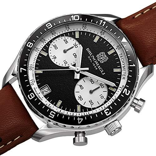 Bruno Magli Men's Marco 1081 Swiss Quartz Black Dial Italian Leather Strap Watch