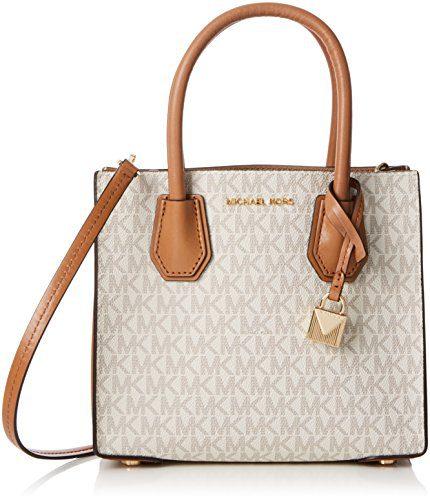 Michael Kors Mercer Signature Messenger Bag - Vanilla