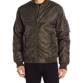 Ben Sherman Men's Flight Bomber Jacket, Olive, Large