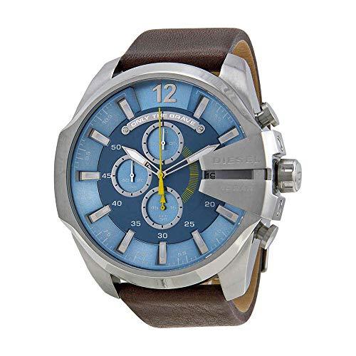 Diesel Men's DZ4281 Mega Chief Stainless Steel Brown Leather Watch