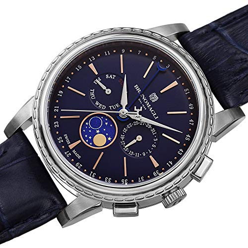 Bruno Magli Men's Limited Edition Swiss Made Multi-Function Moonphase Watch with Italian Leather Strap