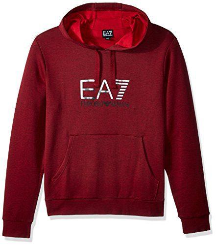 EA7 Emporio Armani Active Men's Train Visibility Melange Hoodie Sweatshirt, Burgundy Melange, L