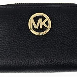 Michael Kors Fulton Leather Zip Around Coin Case (Black)