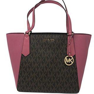 Michael Kors Kimberly LG Bonded Signature Tote Bag in Brown/Tulip
