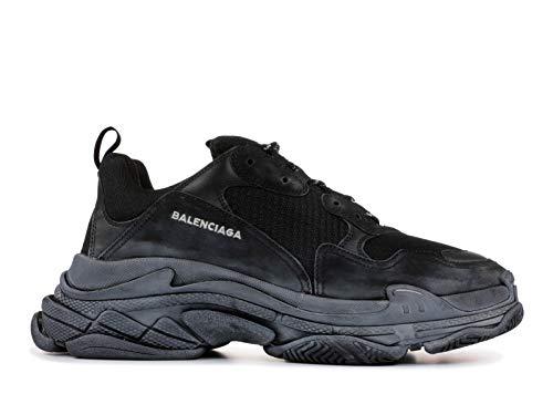 Balenciaga Unisex Triple S Mesh Nubuck Leather Platform Sneakers Vintage Trainers Black