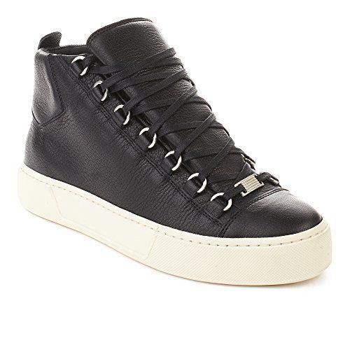 Balenciaga Men's Arena Leather High Top Sneaker Shoes Black