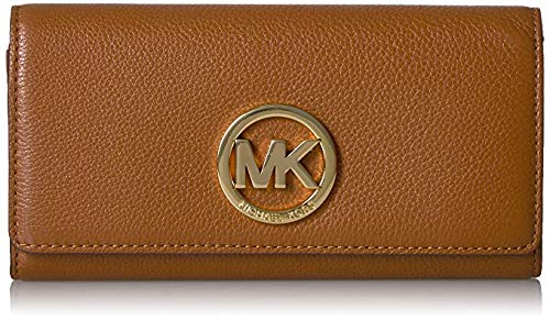 03b76f849fe1 Michael Kors Fulton Flap Luggage Brown Pebbled Leather Wallet Clout ...
