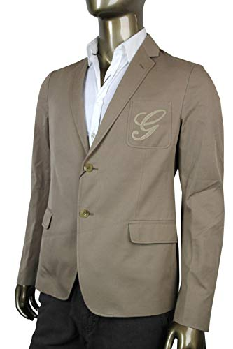 Gucci Embroidered Logo Light Brown Cotton Blazer Jacket