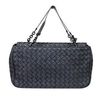 Bottega Veneta Intrecciato Black Fabric Tote Evening Bag
