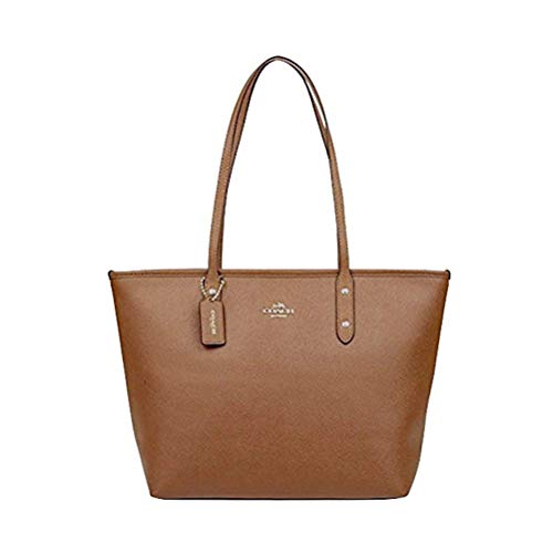 Coach Crossgrain Leather City Zip Tote Saddle
