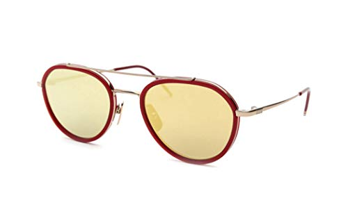 THOM BROWNE Sunglasses 12K Gold - Red/G-15 - Gold Mirror - AR 51mm