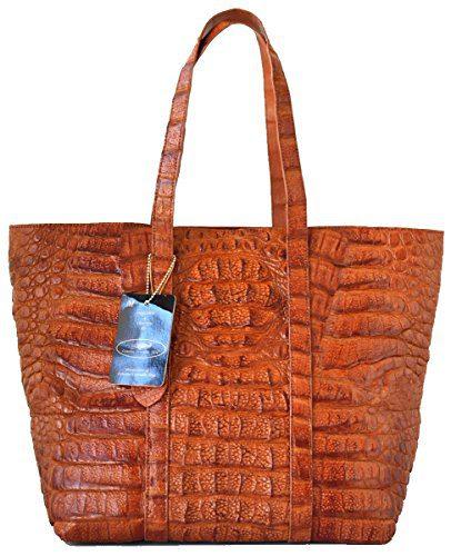 Authentic M Crocodile Skin Womens Hornback Bag Tote Large