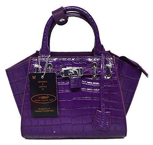 Authentic M Crocodile Skin Womens Belly W/Strap Hobo Bag Purse