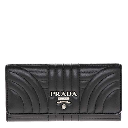 Prada Leather Quilted Diagramme Continental Wallet in Black