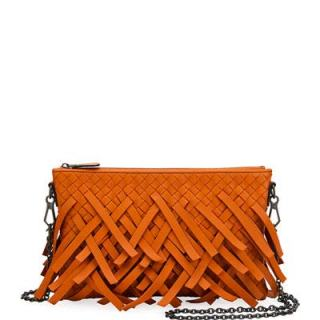 Bottega Veneta Palio Fringe Woven Leather Zip-Top Pouch