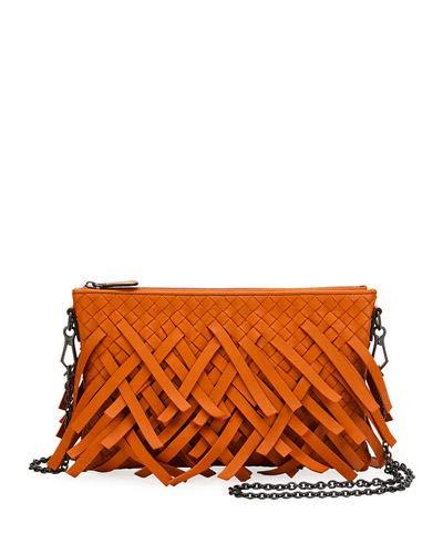 Bottega Veneta Palio Fringe Woven Leather Zip-Top Pouch