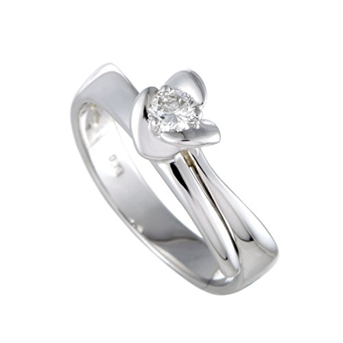 Damiani 18K White Gold .18ct Diamond Solitaire Engagement Ring