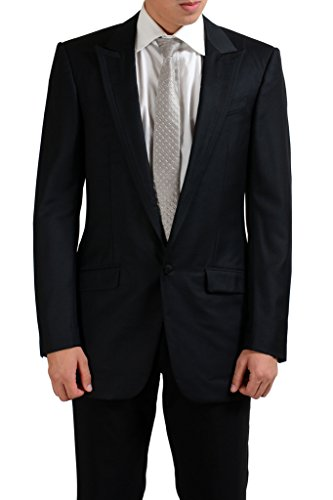 Versace 100% Wool Black One Button Men's Blazer